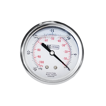"Picture of 2-1/2"" Liquid Filled Back Mount Vacuum/Pressure Gauge"