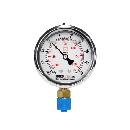 "Picture of 2-1/2"" Liquid Filled Bottom Mount Vacuum/Pressure Gauge"