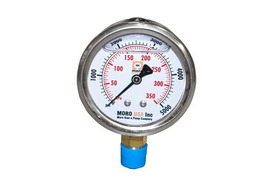 "Picture of 2-1/2"" Liquid Filled Lower Mount Pressure Gauge"
